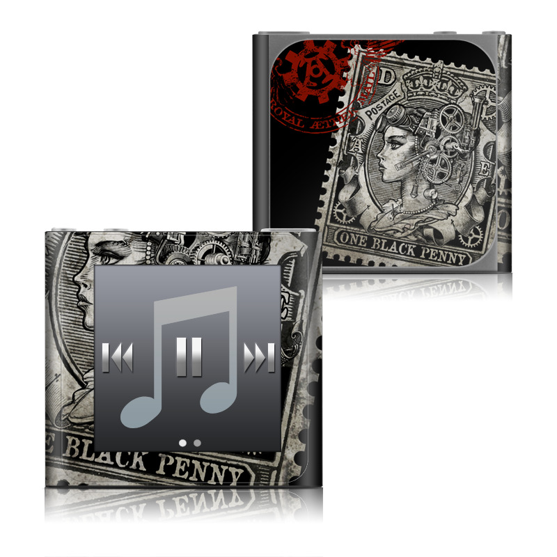 iPod nano 6th Gen Skin design of Font, Postage stamp, Illustration, Drawing, Art with black, gray, red colors