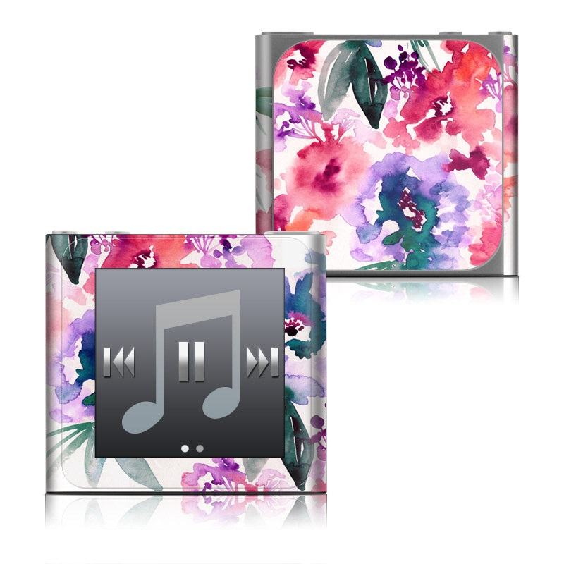 iPod nano 6th Gen Skin design of Purple, Pattern, Pink, Lilac, Violet, Flower, Watercolor paint, Floral design, Plant, Design with green, pink, red, purple, white colors