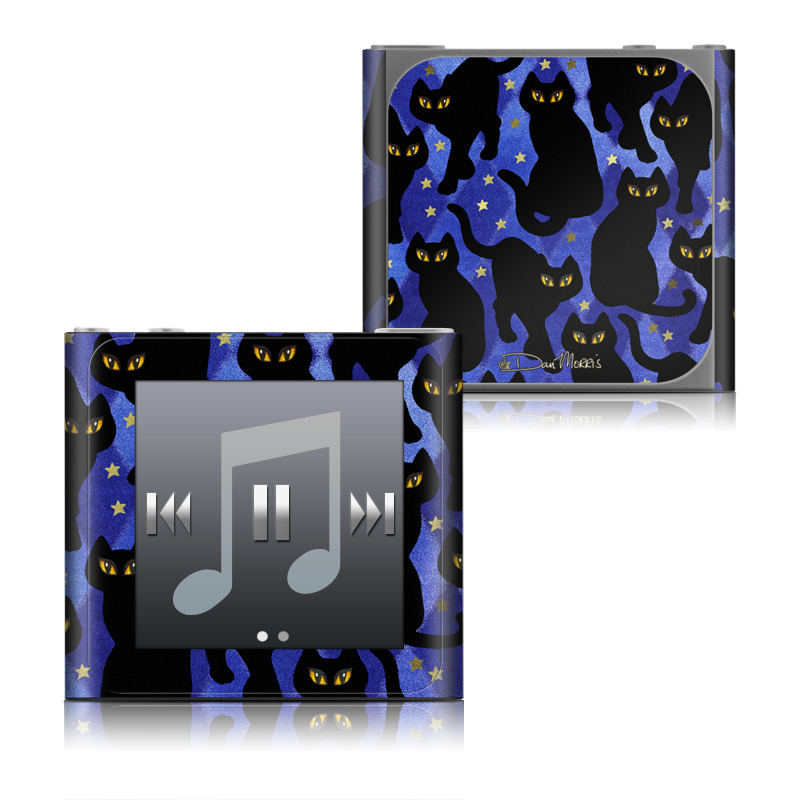 iPod nano 6th Gen Skin design of Black cat, Black, Cat, Small to medium-sized cats, Pattern, Felidae, Design, Electric blue, Illustration, Art with black, blue, purple, yellow colors