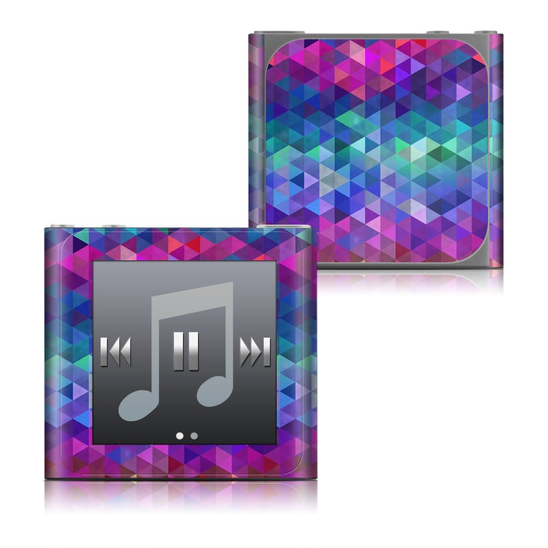 iPod nano 6th Gen Skin design of Purple, Violet, Pattern, Blue, Magenta, Triangle, Line, Design, Graphic design, Symmetry with blue, purple, green, red, pink colors