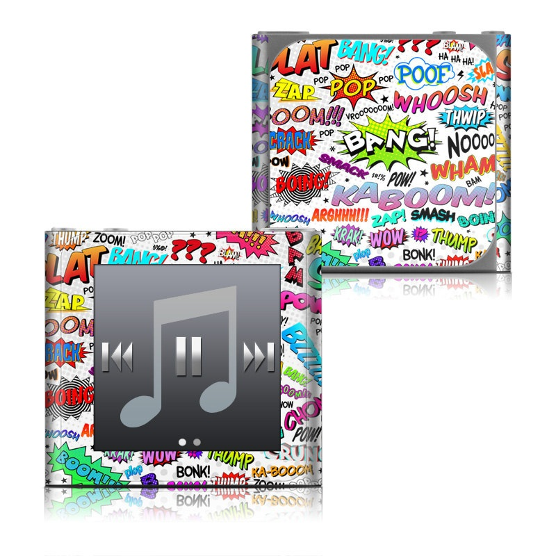 iPod nano 6th Gen Skin design of Text, Font, Line, Graphics, Art, Graphic design with gray, white, red, blue, black colors