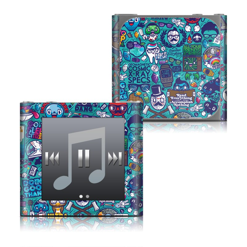iPod nano 6th Gen Skin design of Art, Visual arts, Illustration, Graphic design, Psychedelic art with blue, black, gray, red, green colors