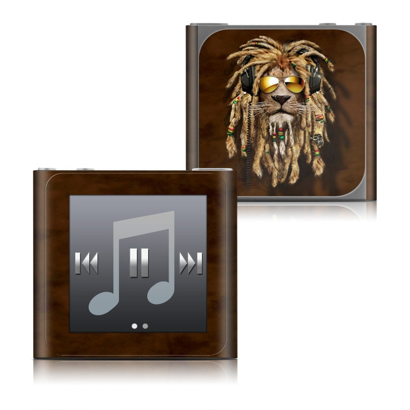 iPod nano 6th Gen Skin design of Hair, Fur, Dreadlocks, Snout, Organism, Glasses, Whiskers, Mask, Wildlife, Fictional character with black, green, red, gray colors