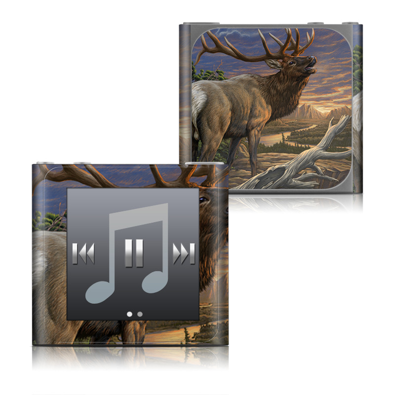 iPod nano 6th Gen Skin design of Elk, Reindeer, Deer, Wildlife, Antler, Barren ground Caribou, Art, Moose, Horn, Fawn with black, red, blue, green, gray colors