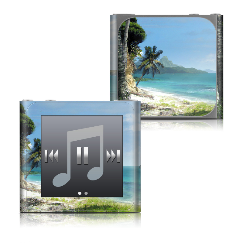 iPod nano 6th Gen Skin design of Body of water, Tropics, Nature, Natural landscape, Shore, Coast, Caribbean, Sea, Tree, Beach with gray, black, blue, green colors