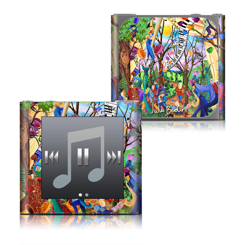 iPod nano 6th Gen Skin design of Modern art, Art, Mural, Painting, Psychedelic art, Visual arts, Tree, Child art, Organism, Plant with black, gray, red, green, blue colors