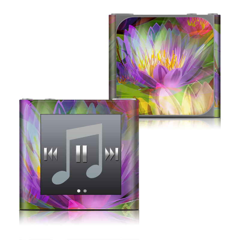 iPod nano 6th Gen Skin design of Flowering plant, Flower, Petal, Violet, Aquatic plant, Purple, water lily, Plant, Botany, Close-up with gray, green, black, purple, red colors