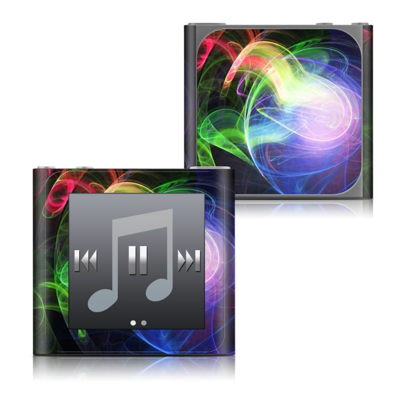 iPod nano 6th Gen Skin design of Light, Blue, Graphic design, Fractal art, Colorfulness, Electric blue, Neon, Circle, Design, Technology with black, blue, green, red, purple colors