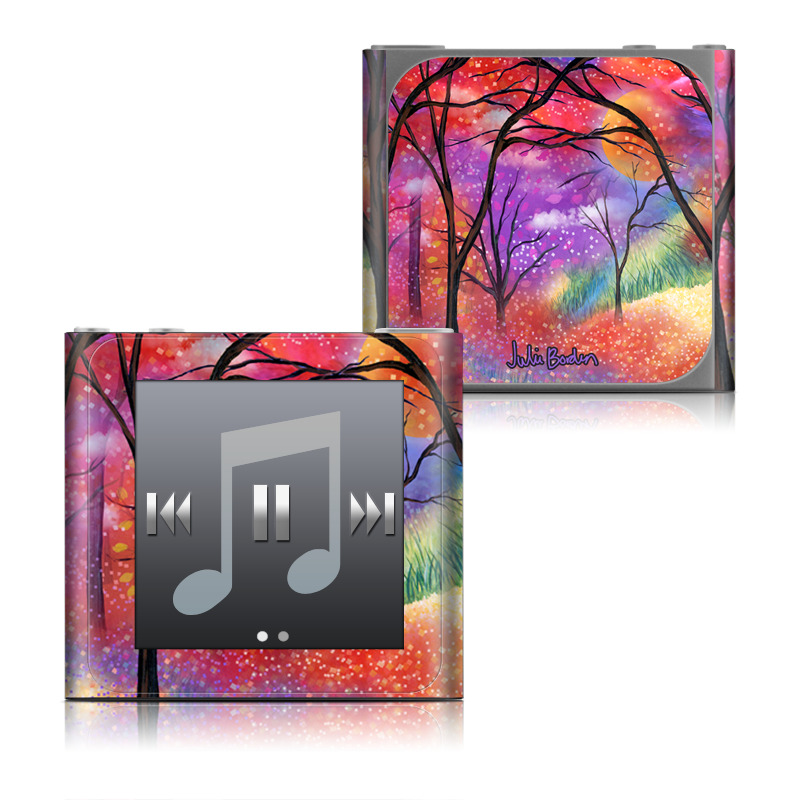 iPod nano 6th Gen Skin design of Nature, Tree, Natural landscape, Painting, Watercolor paint, Branch, Acrylic paint, Purple, Modern art, Leaf with red, purple, black, gray, green, blue colors