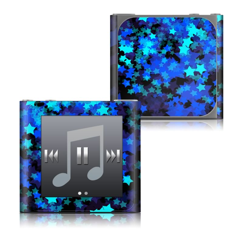 iPod nano 6th Gen Skin design of Blue, Green, Purple, Violet, Electric blue, Sky, Pattern, Design, Space, Fractal art with black, blue colors
