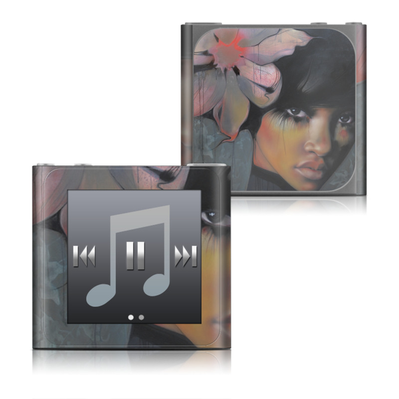 iPod nano 6th Gen Skin design of Face, Nose, Head, Beauty, Lip, Art, Illustration, Eye, Painting, Acrylic paint with black, gray, red, green, blue, purple colors