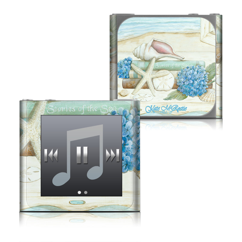 iPod nano 6th Gen Skin design of Starfish, Shell, Hydrangea, Plant, Flower, Still life, Echinoderm, Cornales with gray, green, blue, yellow colors