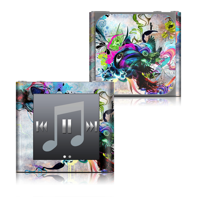 iPod nano 6th Gen Skin design of Graphic design, Psychedelic art, Art, Illustration, Purple, Visual arts, Graffiti, Street art, Design, Painting with gray, black, blue, green, purple colors