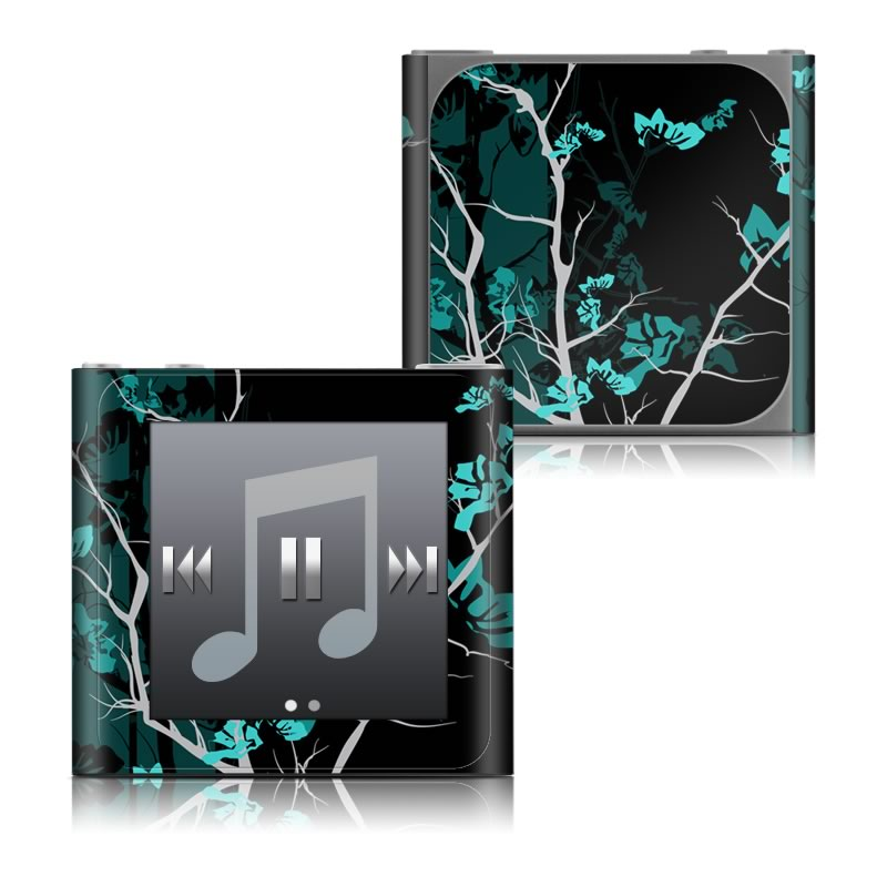 iPod nano 6th Gen Skin design of Branch, Black, Blue, Green, Turquoise, Teal, Tree, Plant, Graphic design, Twig with black, blue, gray colors