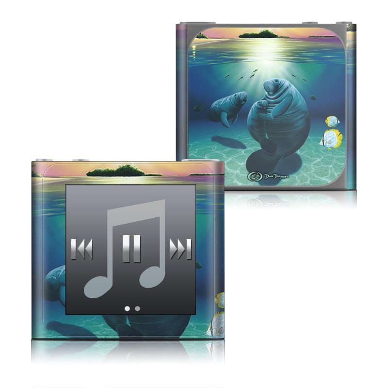 iPod nano 6th Gen Skin design of Manatee, Marine mammal, Sky, Sea cows, Illustration, Dugong, Ocean, Sea, Tropics, Fictional character with blue, green, yellow, orange, pink, purple, red colors