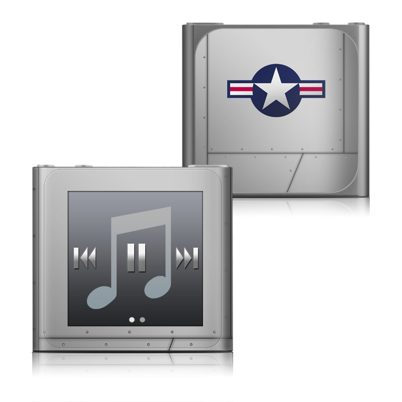 iPod nano 6th Gen Skin design of Logo, Flag, Emblem, Graphics, Symbol, Symmetry with gray, black colors