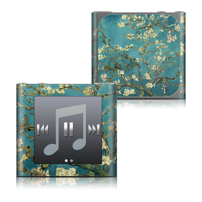 iPod nano 6th Gen Skin design of Tree, Branch, Plant, Flower, Blossom, Spring, Woody plant, Perennial plant with blue, black, gray, green colors