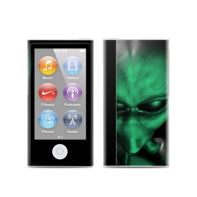 iPod nano 7th Gen Skin design of Green, Head, Fictional character, Close-up, Art, Action figure, Supervillain with black, green colors
