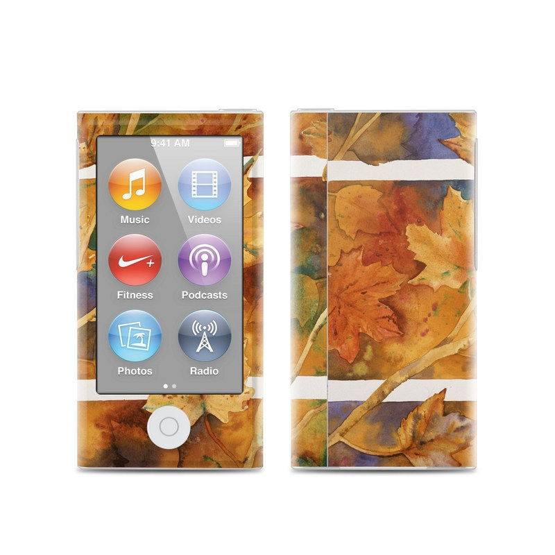 iPod nano 7th Gen Skin design of Leaf, Autumn, Plant, Tree, Flower, Black maple, Plane, Painting, Still life, Deciduous with yellow, green, red, orange, white, blue colors