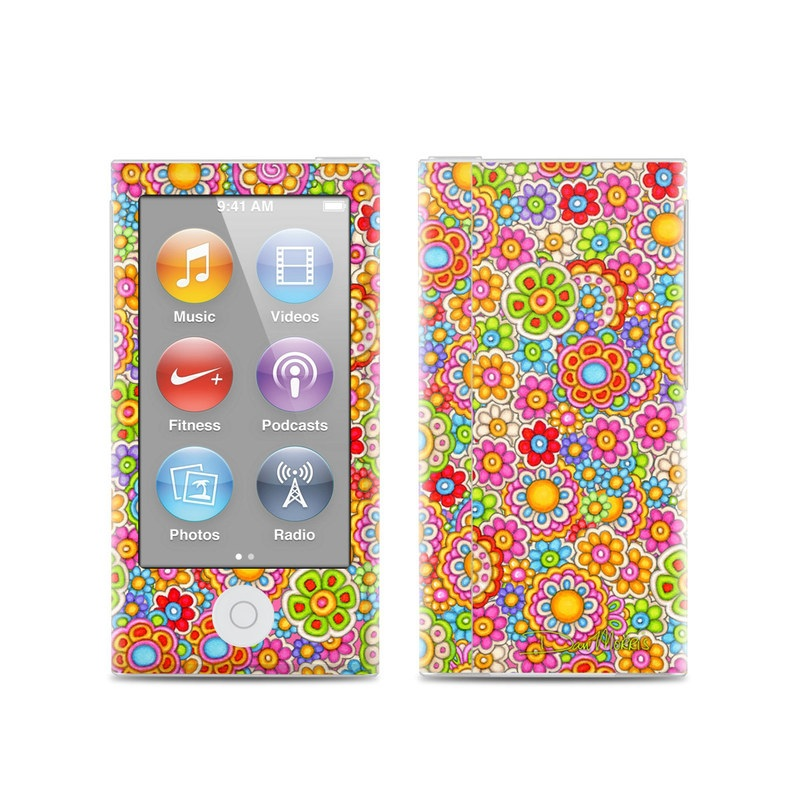iPod nano 7th Gen Skin design of Pattern, Design, Textile, Visual arts with pink, red, orange, yellow, green, blue, purple colors