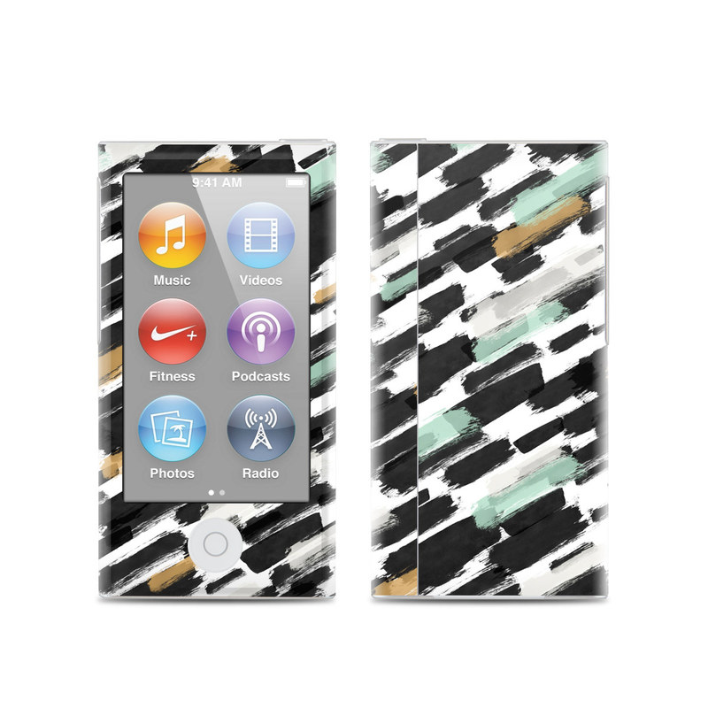 iPod nano 7th Gen Skin design of Pattern, Line, Design, Material property, Rectangle with black, white, orange, blue, yellow colors