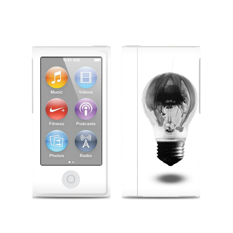 iPod nano 7th Gen Skin design of White, Incandescent light bulb, Light bulb, Lighting, Black-and-white, Monochrome, Illustration, Photography, Drawing, Sketch with white, gray, black colors