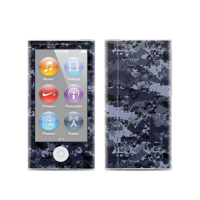 iPod nano 7th Gen Skin design of Military camouflage, Black, Pattern, Blue, Camouflage, Design, Uniform, Textile, Black-and-white, Space with black, gray, blue colors