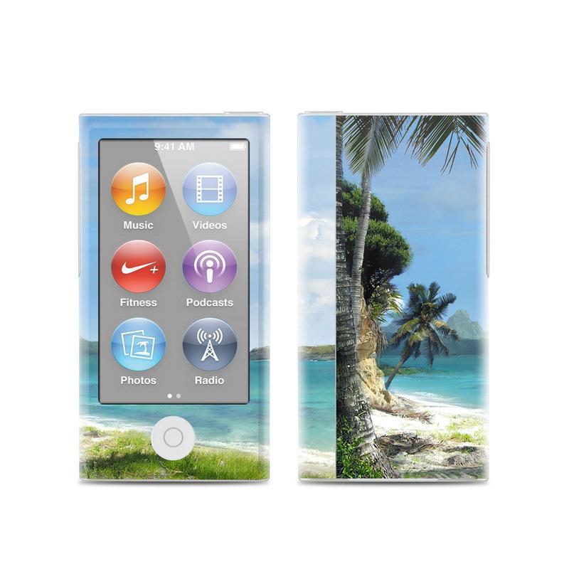 iPod nano 7th Gen Skin design of Body of water, Tropics, Nature, Natural landscape, Shore, Coast, Caribbean, Sea, Tree, Beach with gray, black, blue, green colors
