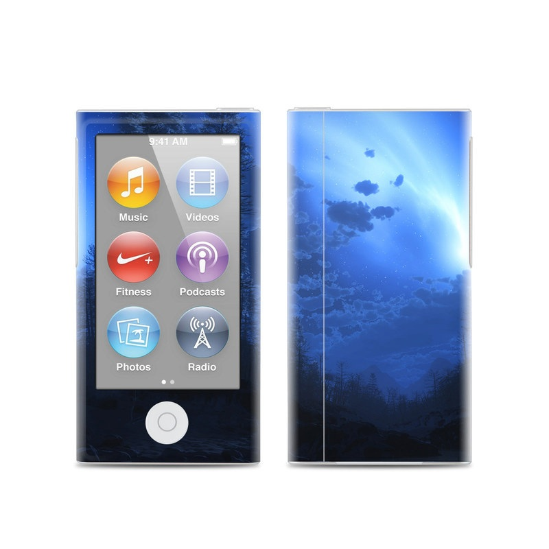 iPod nano 7th Gen Skin design of Sky, Nature, Blue, Light, Moonlight, Atmosphere, Atmospheric phenomenon, Night, Astronomical object, Celestial event with black, blue, purple colors
