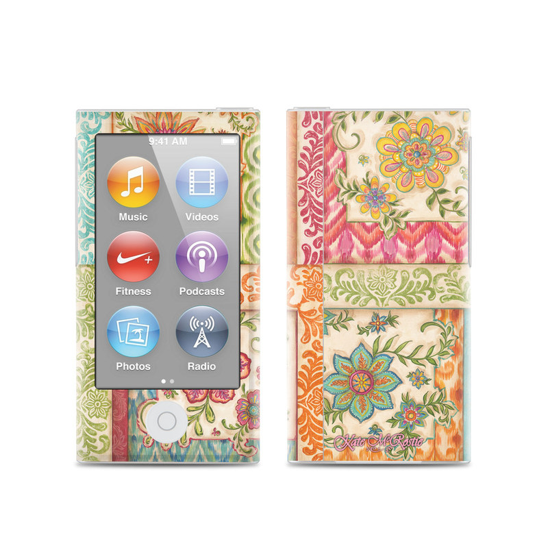 iPod nano 7th Gen Skin design of Pattern, Textile, Line, Design, Wrapping paper, Visual arts, Motif, Floral design, Pedicel with gray, green, pink, red, blue, orange colors