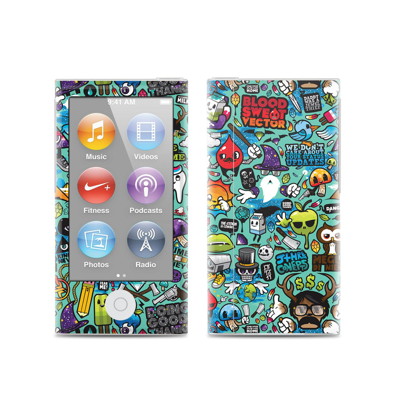 iPod nano 7th Gen Skin design of Cartoon, Art, Pattern, Design, Illustration, Visual arts, Doodle, Psychedelic art with black, blue, gray, red, green colors