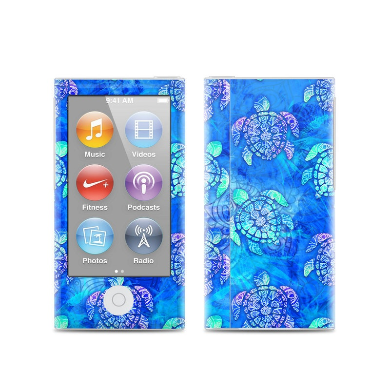 iPod nano 7th Gen Skin design of Blue, Pattern, Organism, Design, Sea turtle, Plant, Electric blue, Hydrangea, Flower, Symmetry with blue, green, purple colors