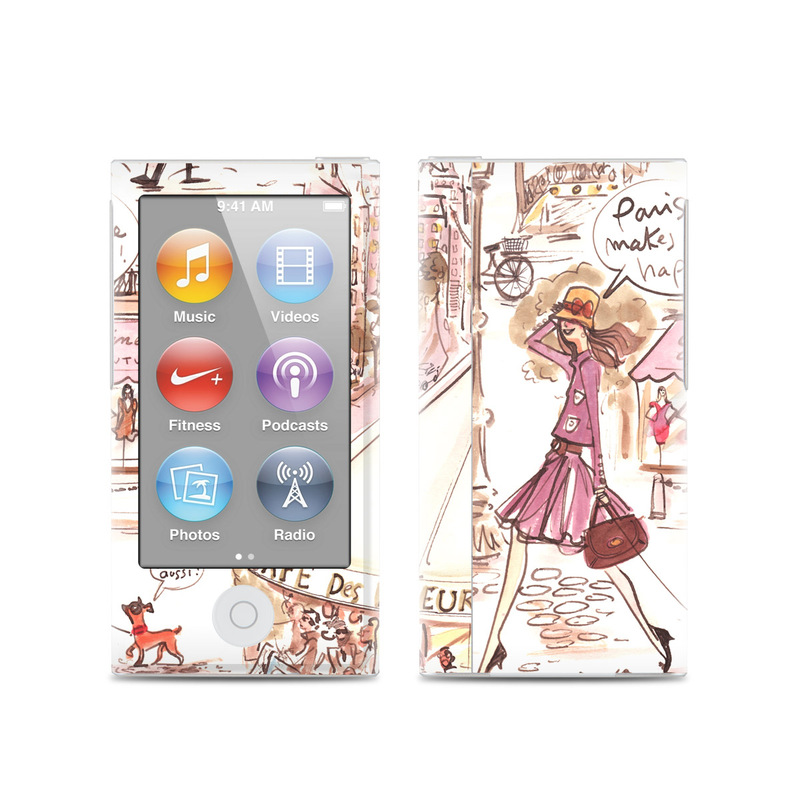 iPod nano 7th Gen Skin design of Cartoon, Illustration, Comic book, Fiction, Comics, Art, Human, Organism, Fictional character, Style with gray, white, pink, red, yellow, green colors