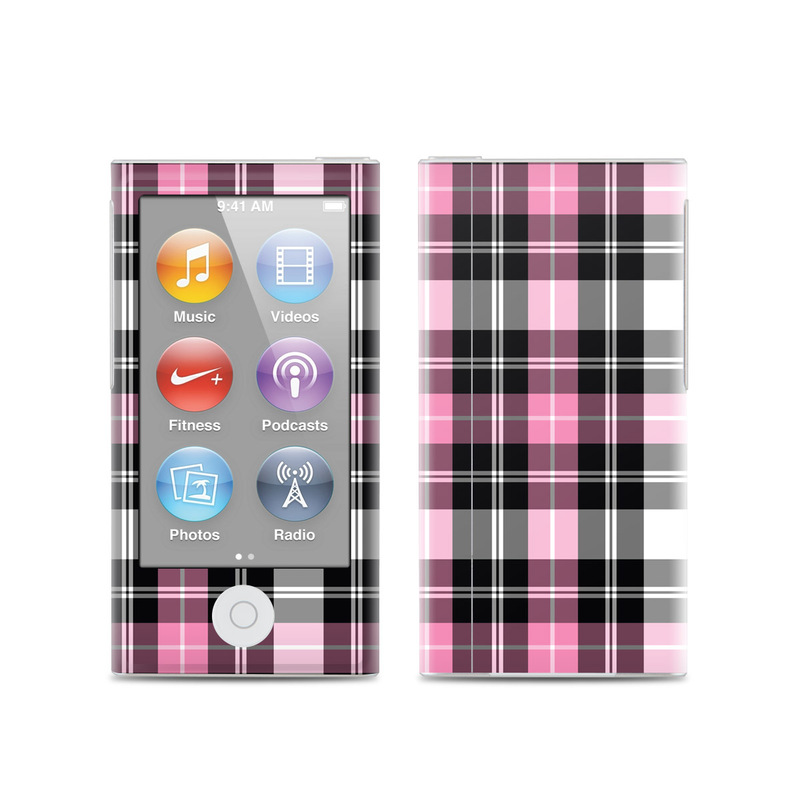 iPod nano 7th Gen Skin design of Plaid, Tartan, Pattern, Pink, Purple, Violet, Line, Textile, Magenta, Design with black, gray, pink, red, white, purple colors