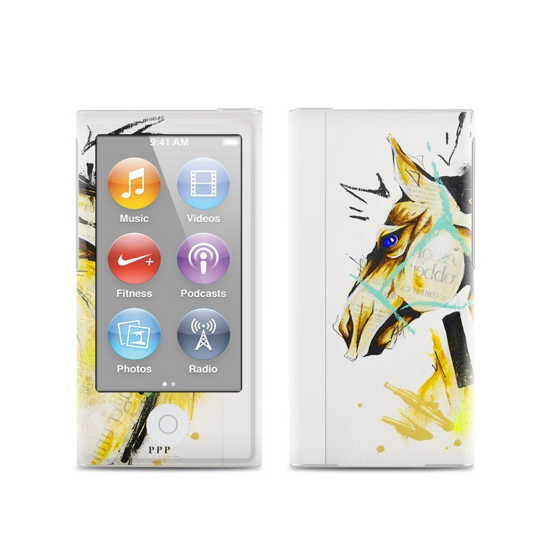 iPod nano 7th Gen Skin design of Illustration, Modern art, Graphic design, Art, Painting, Visual arts, Drawing, Graphics, Fictional character, Watercolor paint with yellow, blue, black colors