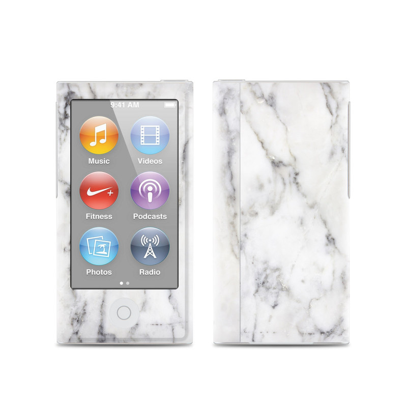 iPod nano 7th Gen Skin design of White, Geological phenomenon, Marble, Black-and-white, Freezing with white, black, gray colors