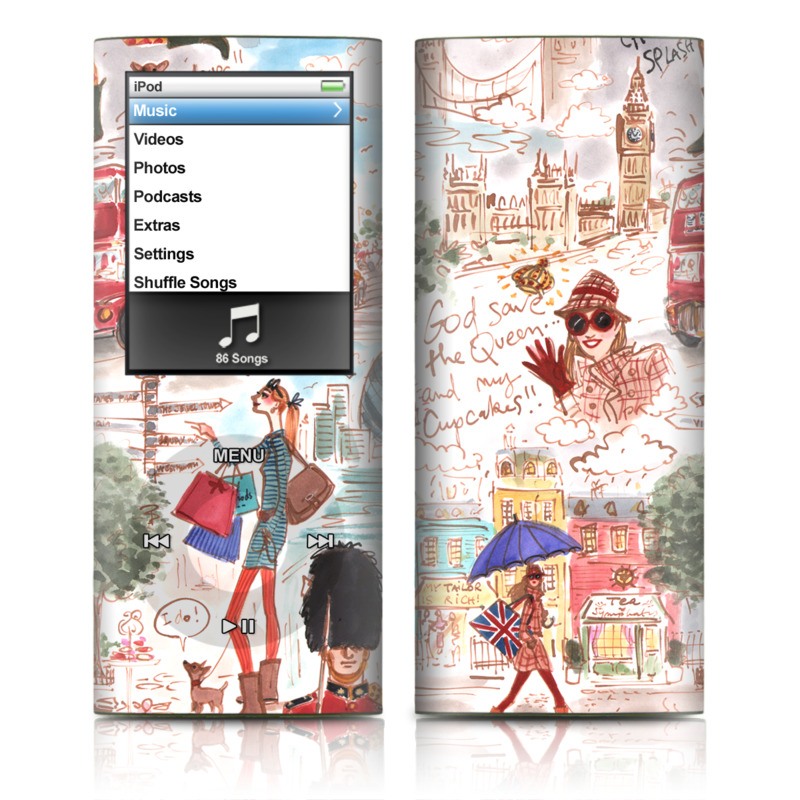 iPod nano 4th Gen Skin design of Illustration, Art, World, Christmas, Fictional character, Vehicle with gray, white, pink, red, green, black colors