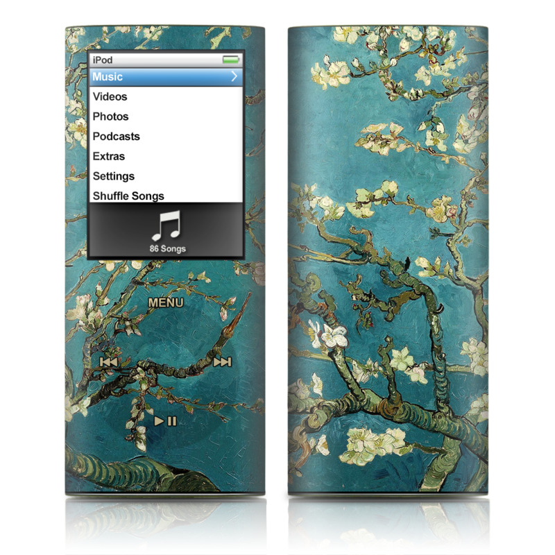 iPod nano 4th Gen Skin design of Tree, Branch, Plant, Flower, Blossom, Spring, Woody plant, Perennial plant with blue, black, gray, green colors