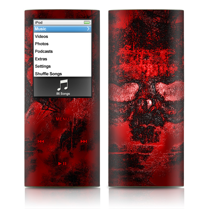 iPod nano 4th Gen Skin design of Red, Heart, Graphics, Pattern, Skull, Graphic design, Flesh, Visual arts, Art, Illustration with black, red colors