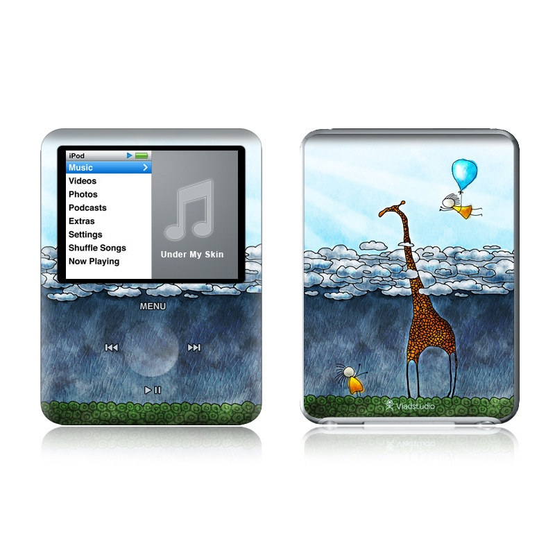 iPod nano 3rd Gen Skin design of Giraffe, Sky, Tree, Water, Branch, Giraffidae, Illustration, Cloud, Grassland, Bird with blue, gray, yellow, green colors