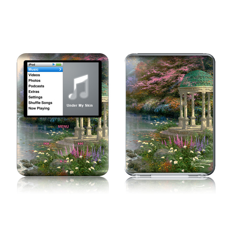 iPod nano 3rd Gen Skin design of Nature, Natural landscape, Tree, Botany, Water, Garden, Gazebo, Spring, Plant, Reflection with black, gray, green, red, purple colors