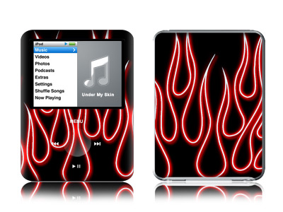 Red Neon Flames iPod nano 3rd Gen Skin