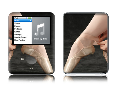 iPod nano 3rd Gen Skin design of Footwear, Ballet, Pointe shoe, Dance, Shoe, Leg, Performing arts, Joint, Ballet shoe, Hand with black, gray, red, green, pink colors