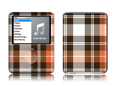 iPod nano 3rd Gen Skin design of Plaid, Pattern, Tartan, Orange, Brown, Textile, Line, Design, Tints and shades with gray, black, red, white, pink, green colors