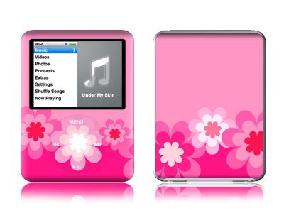 Retro Pink Flowers iPod nano 3rd Gen Skin