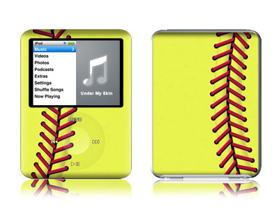 iPod nano 3rd Gen Skin design of Yellow, Line, Parallel with green, red, black colors