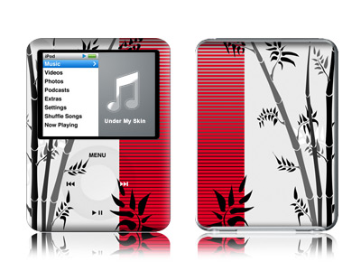 iPod nano 3rd Gen Skin design of Botany, Plant, Branch, Plant stem, Tree, Bamboo, Pedicel, Black-and-white, Flower, Twig with gray, red, black, white colors
