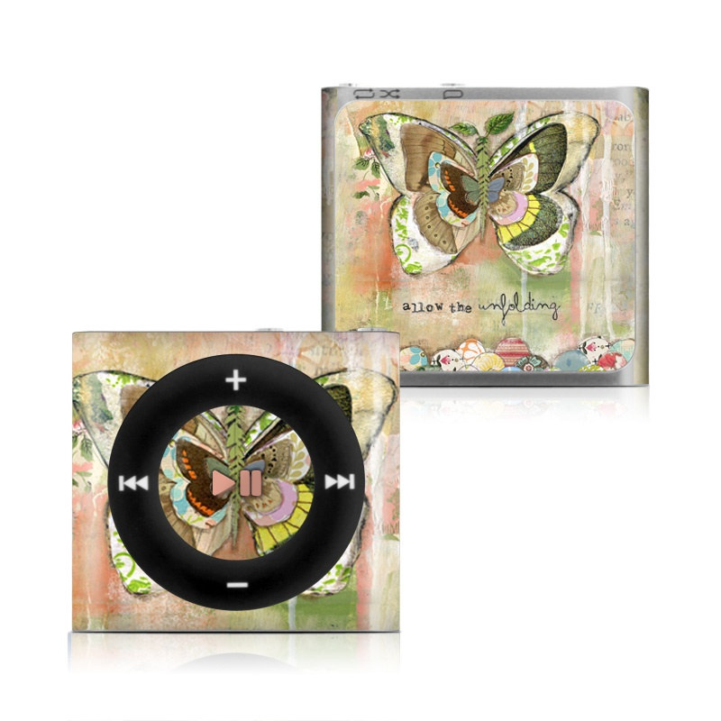 iPod shuffle 4th Gen Skin design of Butterfly, Art, Fictional character, Pollinator, Moths and butterflies, Watercolor paint, Illustration with green, brown, yellow, blue, pink, red colors