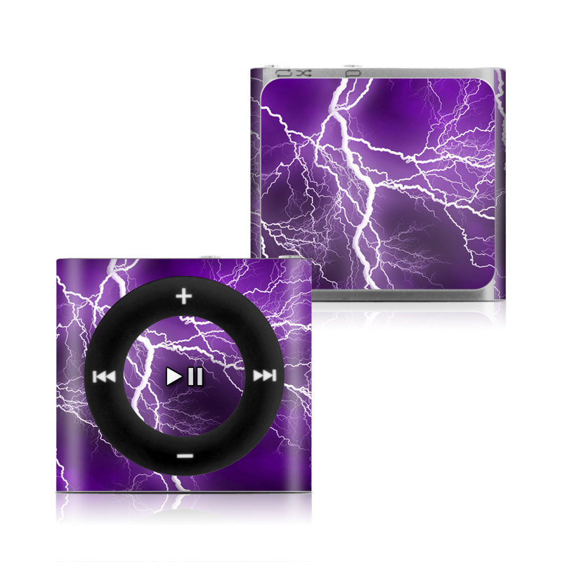 iPod shuffle 4th Gen Skin design of Thunder, Lightning, Thunderstorm, Sky, Nature, Purple, Violet, Atmosphere, Storm, Electric blue with purple, black, white colors