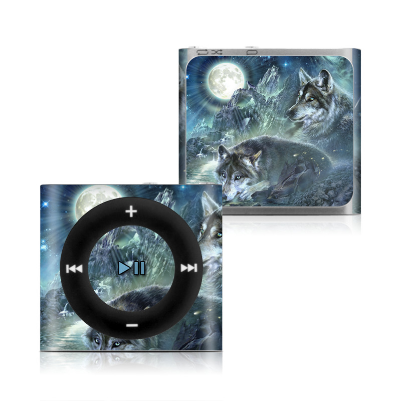 iPod shuffle 4th Gen Skin design of Cg artwork, Fictional character, Darkness, Werewolf, Illustration, Wolf, Mythical creature, Graphic design, Dragon, Mythology with black, blue, gray, white colors